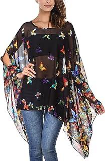 DJT Women`s Floral Printed Chiffon Caftan Poncho Tunic Top