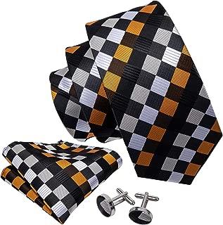 Check Formal Ties for Men Set Silk Pocket Square Cufflink Designer