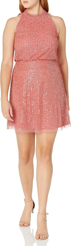 Adrianna Papell Women's Beaded Blouson Halter Dress