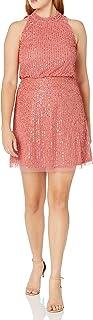 Women's Beaded Blouson Halter Dress