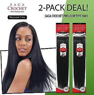 MULTI-PACK DEALS! Saga Human Hair Crochet Braids Pre Loop Type Yaki with Free Gift (10