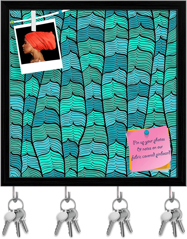 Artzfolio bluee Waves Key Holder Hooks   Notice Pin Board   Black Frame 20 X 20Inch