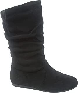Selena-23k Girl's Kid's Cute Causal Zipper Mid Calf Slouchy Flat Boot Shoes
