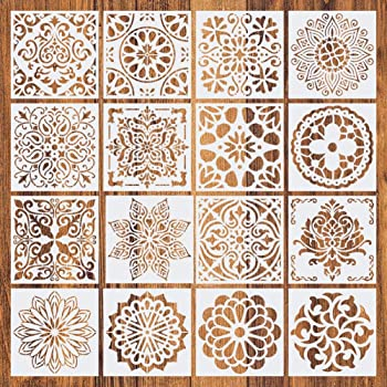 16 Pcs Schablone Mandala Mehrfach Wiederverwendbar Mandala Dot Malerei Vorlagen Schablonen Perfekt Fur Diy Rock Malerei Kunstprojekte Holz Glas Stoff Metall Wande Amazon De Kuche Haushalt