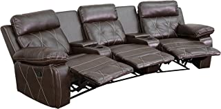 Flash Furniture Reel Comfort Series 3-Seat Reclining Brown Leather Theater Seating Unit with Curved Cup Holders