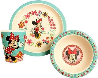Disney Minnie Flowers Bamboo Dinnerware Set, Multicolor, 3-Piece