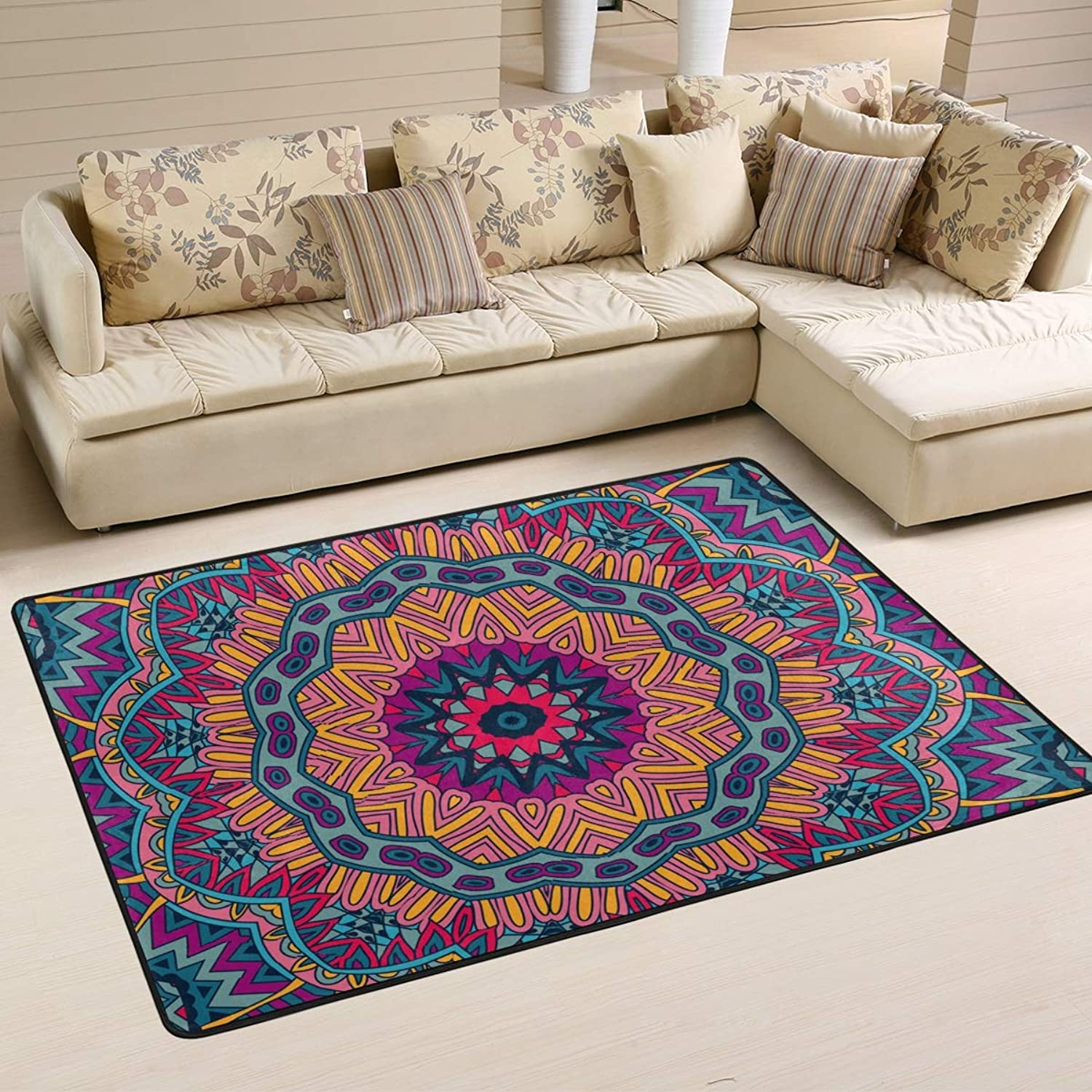 Area Rugs Doormats Flower Pattern colorful Mandala Soft Carpet Mat 6'x4' (72x48 Inches) for Living Dining Dorm Room Bedroom Home Decorative