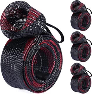 PLUSINNO Fishing Rod Cover, Fishing Rod Sleeve Socks, Braided Mesh Rod Protector, Fishing Pole Covers Sleeves with Lanyard for Fly Spinning Casting Rod,Flat End Fishing Gear Tools Accessories