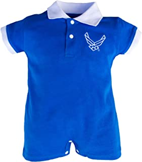 Baby Boys U.S. Air Force Blue White Trimmed Romper Baby Shorts Outfit