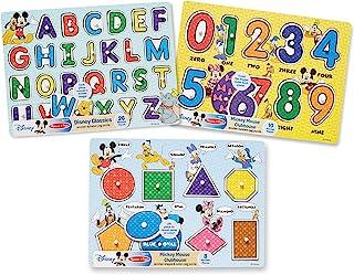 Melissa & Doug Disney Alphabet, Numbers, Shapes and Colors Peg Puzzle Bundle (3 Puzzles)