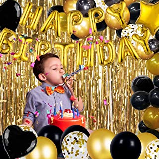 Happy Birthday Balloons Banner, 37PCS Party Supplies Decorations 3D Aluminum Foil Party Balloons for Bridal & Baby Shower ...