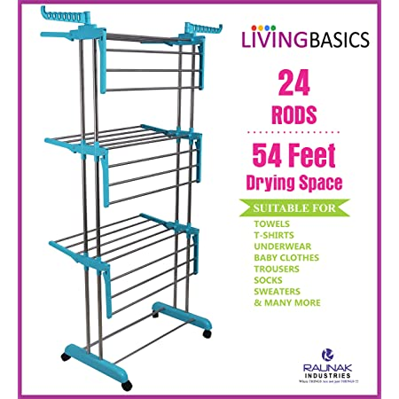 LivingBasics Cloth Drying Stand Rust-Free Stainless Steel & ABS 3 Tier/Layer Foldable Clothes Dryer Rack/Folding Laundry Dry Stands with Wheels for Home/Indoor/Outdoor/Balcony (Cyan Blue)