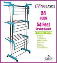 LivingBasics Heavy Duty Rust-Free Stainless Steel Foldable Compact Storage Double Pole Cloth Drying Stand/Clothes Dryer Stands/Laundry Racks with Wheels for Indoor/Outdoor/Balcony (Cyan Blue)