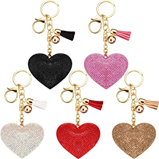 Bling Rhinestone Heart Shape Keychains Glitter Crystal Heart Tassel Keychains Key Rings for Women Girls
