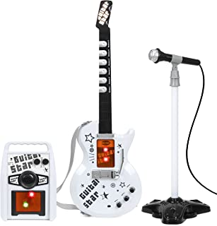 Best Choice Products Kids Electric Guitar Play Set w/ Whammy Bar, Microphone, Amp, AUX, White
