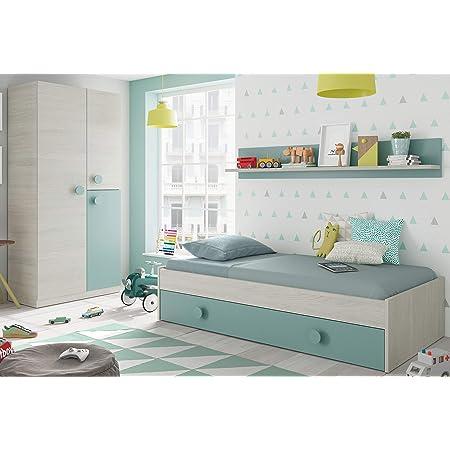 Pack Muebles Dormitorio Juvenil Cama Nido Estante y Armario ropero Verde y Blanco 90x190 cm Sin Somier