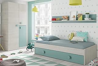 Pack Muebles Dormitorio Juvenil Cama Nido Estante y Armario