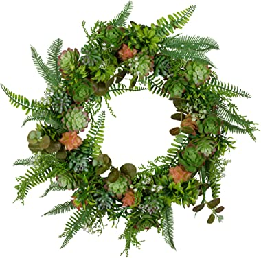 VGIA 15 Inch Artificial Succulent Wreath,Decorative Greenery Wreath –Includes Over 20 Faux Succulents,Arrangement for Front Door Suitable for Home Wall Window Party Décor