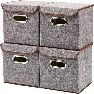 EZOWare Boîte de Rangement Pliable de 14L avec Couvercle, Cube, Boîte Range pour Vêtement, Décoration, sous-vêtements, Jou...