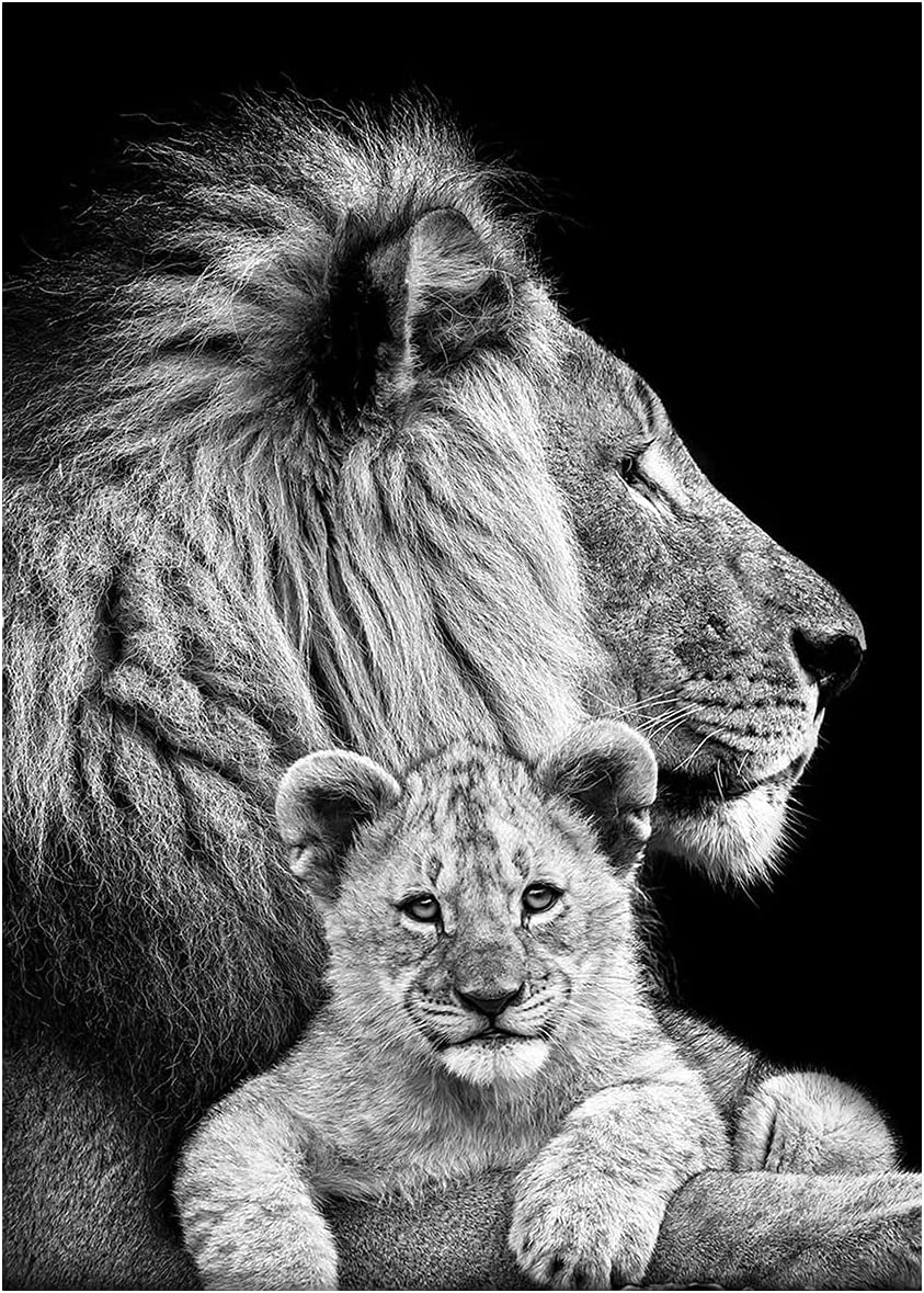 HETHYAN Black White Animals Art Lions a Fees free!! specialty shop Oil Posters Painting