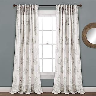 Lush Decor, Gray Teardrop Leaf Curtains Room Darkening Window Panel Set for Living,..