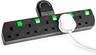 Duronic S125B 5 Way UK Plug Surge Protected Power Extension Adaptor Multi Socket | Switched | Black | Switches Turns 1 Socket Into 5, Not 4 | Engineered To Tell You When Surge Is On