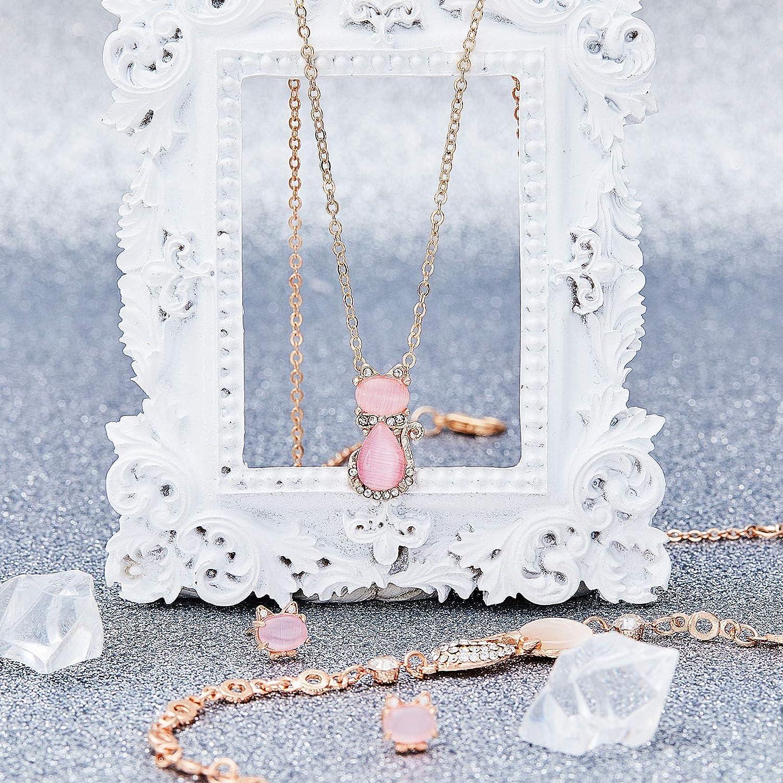 3 Pieces Jewelry Set Cat Necklace Pink Opal Pendant Rhinestone Jewelry Bracelet Set Earring Stud for Teen Girls and Women