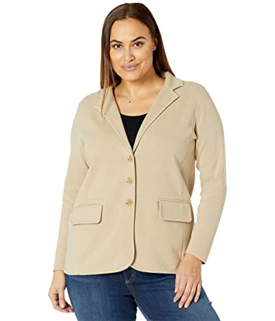 LAUREN Ralph Lauren Plus Size Sweater Knit Blazer (Birch Tan) Women