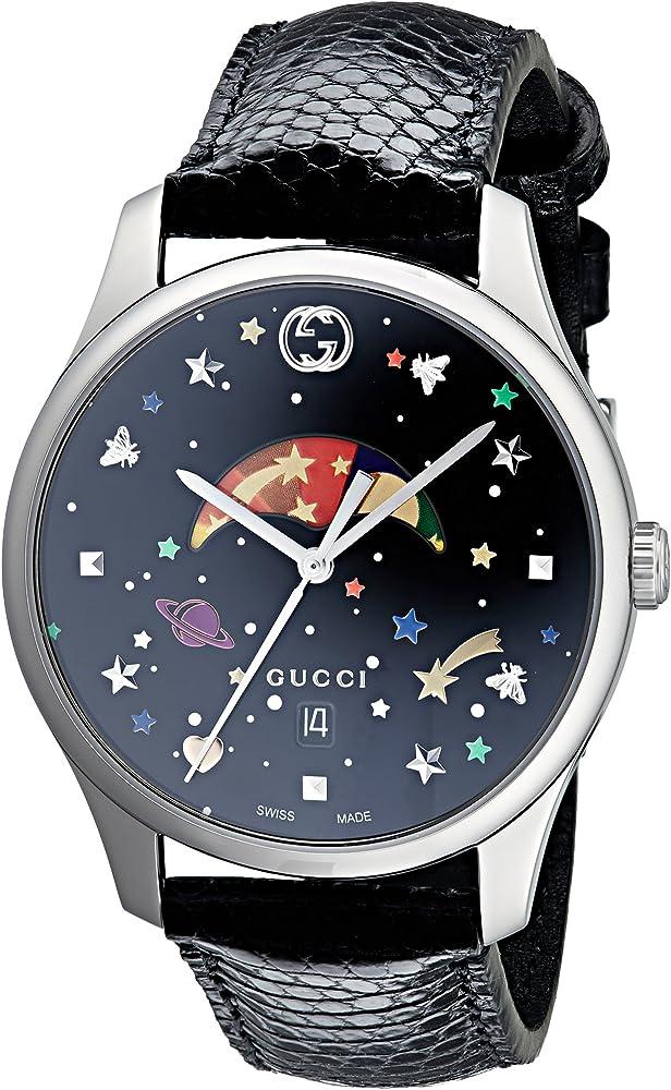Gucci g-timeless,orologio unisex,cassa in acciaio inossidabile , vetro zaffiro e cinturino in pelle YA1264045