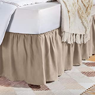 AmazonBasics Ruffled Bed Skirt – Twin, Taupe