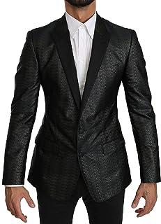 Dolce & Gabbana Black Gray Slim Fit Jacket Martini Blazer