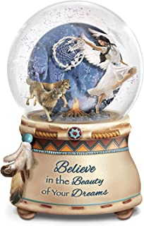The Bradford Exchange Robin Koni Mystical Dreams Wolf Art Light Up Glitter Globe