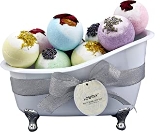 Bath Bombs Gift Set for Women – 10 Oversized Two Tone Bath Fizzies with Shea & Coco Butter Dry Flower Petals – Ultra Lush Spa Bath Set in Cute Tub - Multiple Fragrances – Perfect Holiday Gift