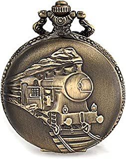 Steam Train Railroad Roman Numerals White Dial Pocket Watch for Men Silver Plating Oxidized Bronze Alloy with Chain