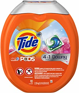 Tide PODS Plus Downy 4 in 1 HE Turbo Laundry Detergent Pacs, April Fresh Scent, 80 Pacs Capsules (5.18 LB)