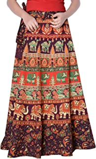 Rajvila Women's Cotton Printed Long 36 Inch Length Regular Wrap Around Skirt Colour (F_W36NT_0001)