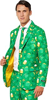 Patrick Clover Suit with Shamrock Print for Men Coming with Green Pants, Jacket, Tie