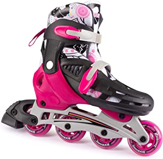 New Bounce Inline Skates for Kids - Adjustable 4 Wheel Blades Roller Skates for Girls, Teens, and Young Adults, Outdoor Rollerskates for Beginners & Advanced | Pink