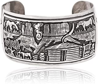 $1680Tag Navajo Traditional Homestead Storyteller Silver Certified Collectable Navajo Cuff Bracelet 1252 Made by Loma Siiva