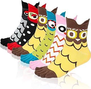 Emooqi, Calcetines de mujer, 6 pares de calcetines de dedo del pie para mujer Calcetines de algodón bonitos con cinco dedos Calcetines de dibujos animados de animales para niñas