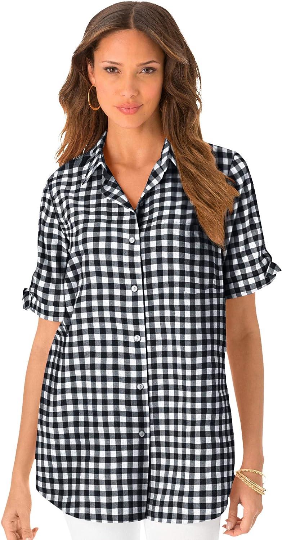 Roamans Women's Plus Size French Check Big Shirt