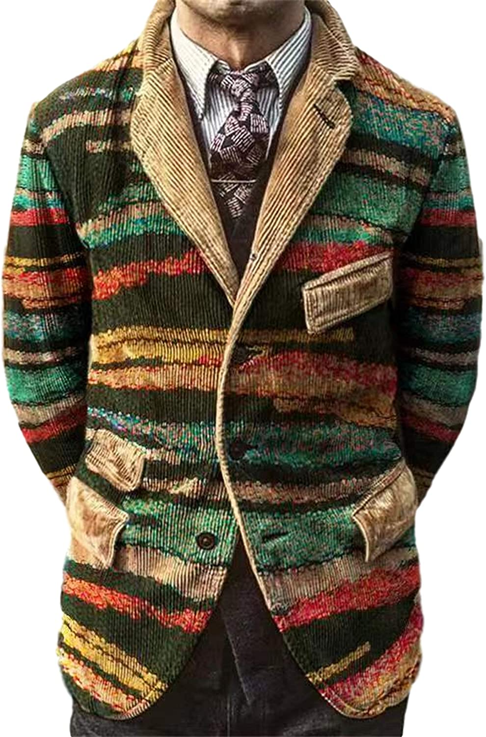 Uaneo Men's Corduroy Printed Casual Notched Lapel Long Sleeve Blazer Suit Jacket(Green-XS)