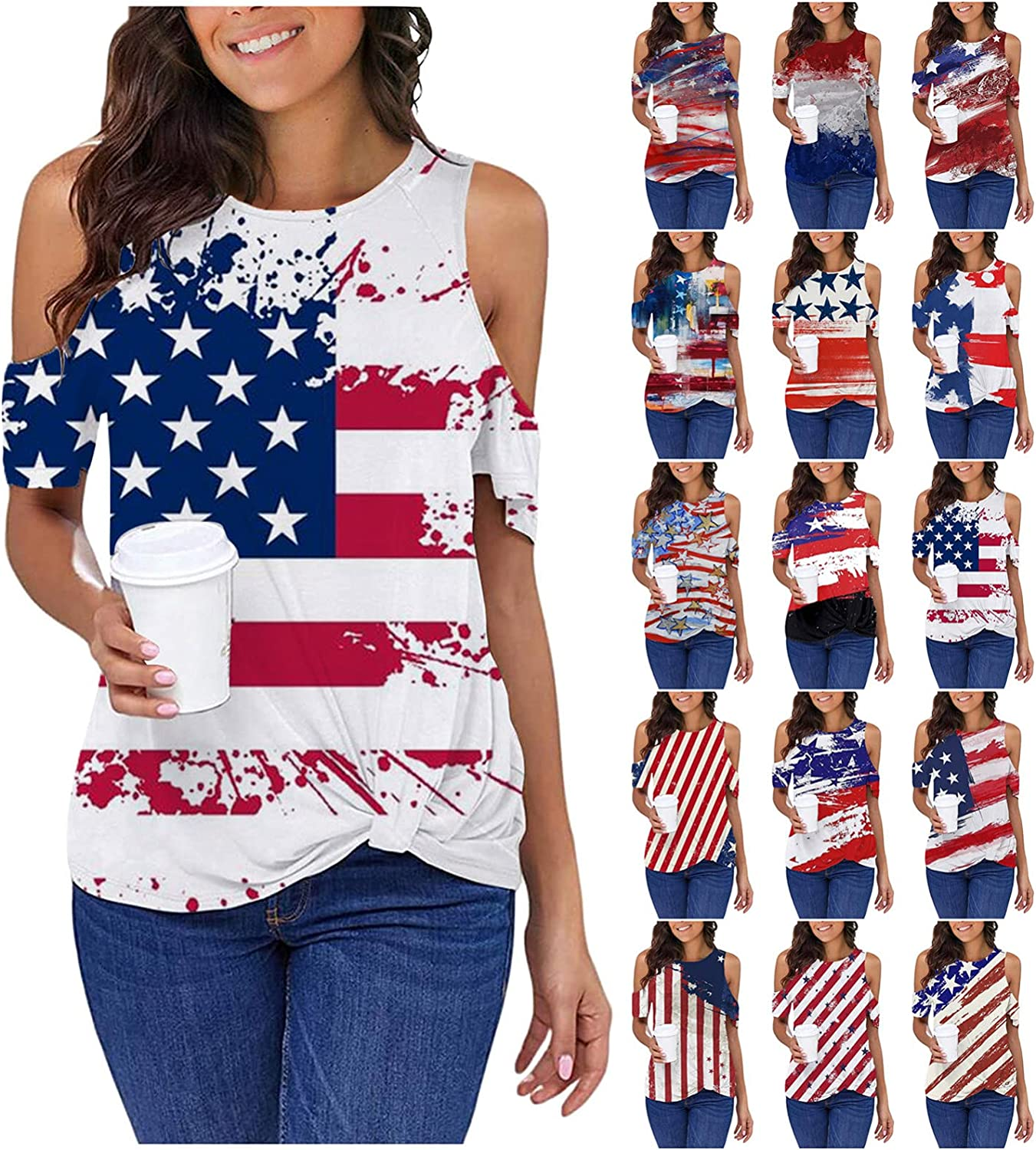 OR July 4th Shirts for Women, Womens Summer Casual T Shirts Short Sleeve Tunic Cold Shoulder Tops Blouses Flag Shirt
