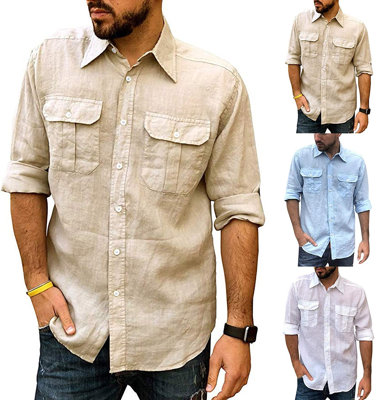 Men's Cotton Linen Shirts Button Down Long Sleeve Henley Shirt Casual Summer Beach Yoga Shirts Tops with Pocket(A)
