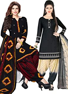 Salwar Studio Women's Pack of 2 Synthetic Printed Unstitched Salwar Suit Material Combo(OM-0037376_Multi_Free Size)