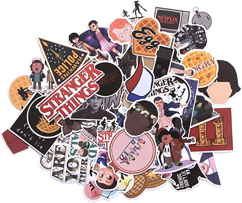 66 Pcs Stranger Things Sticker Anime Stickers For DIY Luggage Laptop Skateboard Car Motorcycle Bicycle Stickers