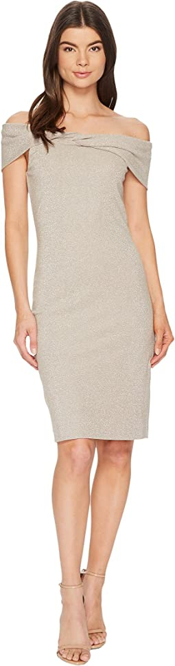 Nicole Miller - Sparkle Knit Twist off Shoulder Dress