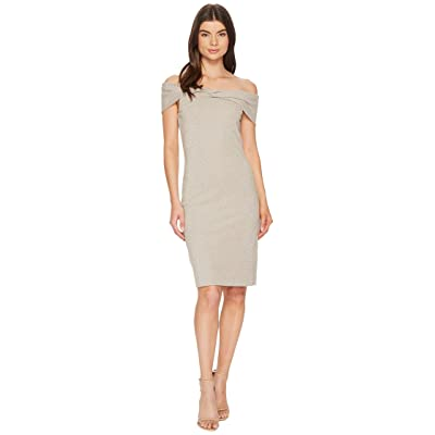 Nicole Miller Sparkle Knit Twist off Shoulder Dress (Light Gold) Women