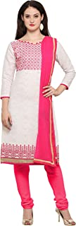 Rajnandini Women's Off White Bombay Cotton Jacquard Embroidered Semi-Stitched Salwar Suit(JOPL1012_Off White_Free size)