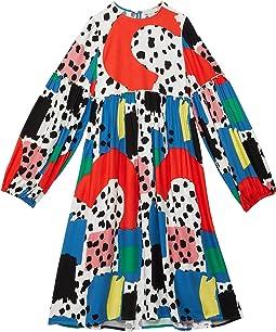 Long Sleeve Color-Block Dalmatian Dress (Toddler/Little Kids/Big Kids)